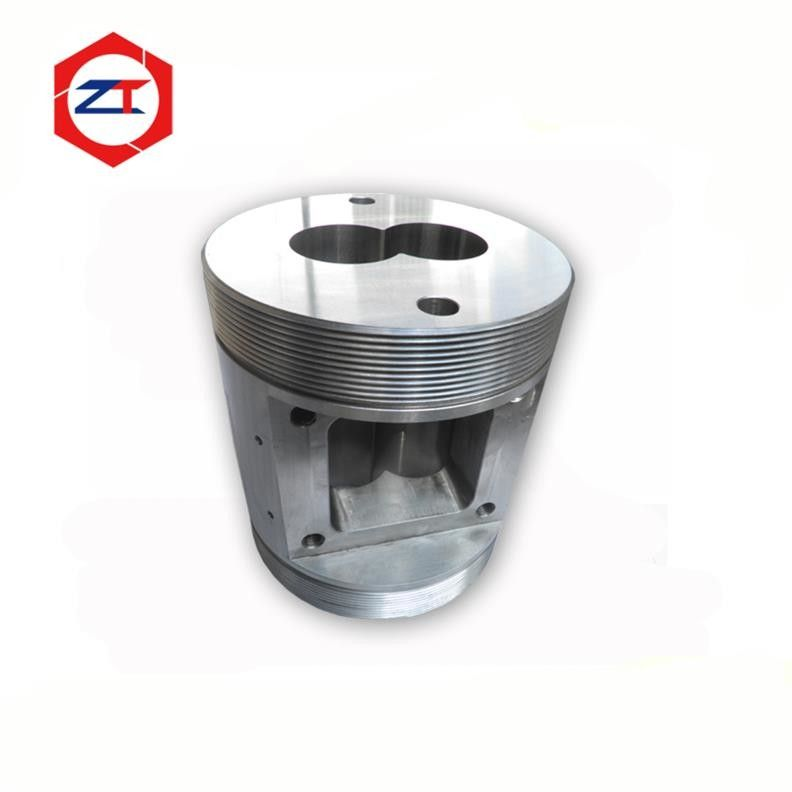 55mm Hole Animal Food Extruder Spare Parts Feeder Twin Screw Barrel 45 Steel+6542 Materials